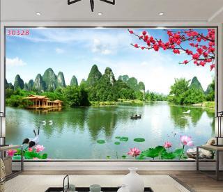 Tranh dán tường 3D Phòng Khách Thiên Nhiên Giao Hòa, 328( Đã tích hợp sẵn keo) thumbnail