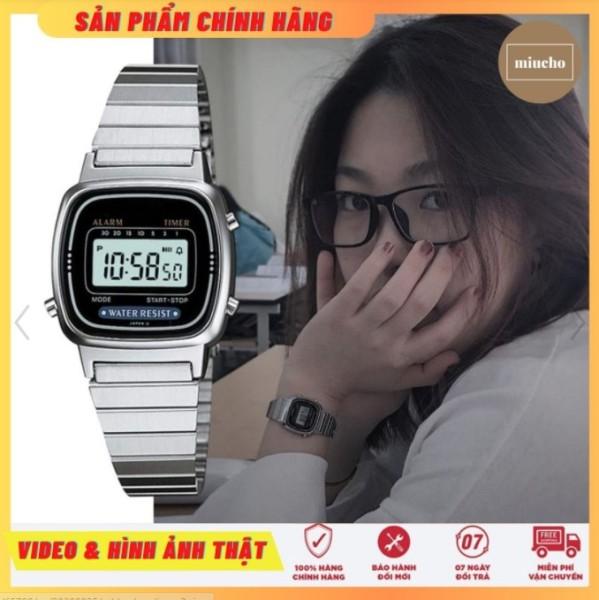 Đồng hồ nữ điện tử LA670 dây thép đơn giản tinh tế chống nước 24mm DH01 Miucho bán chạy