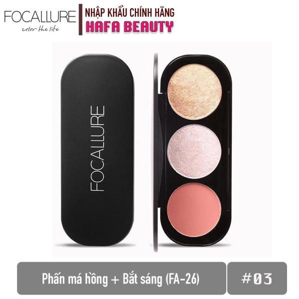Phấn Má Hồng + Bắt Sáng Focallure Triple Colors Effect Blush & Highlighter Palette FA-26