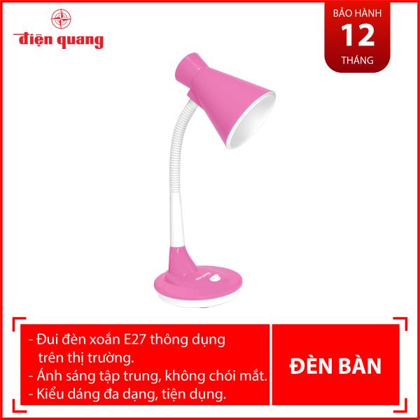 Đèn bàn Điện Quang ĐQ DKL08 PW BW (kiểu chóa nhựa, hồng-trắng, bóng warmwhite)