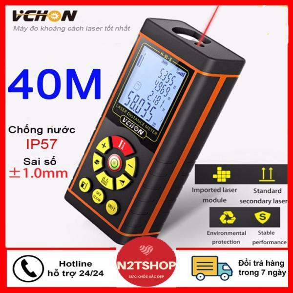 [Tặng kèm 2 pin cho máy] Máy đo khoảng cách bằng tia Laser Vchon H40 - Thước đo khoảng cách bằng tia laze, thước đo điện tử -Thước đo khoảng cách laser, thước đo laser