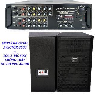 [Trả góp 0%]Dàn karaoke gia đình - Dàn karaoke bluetooth - Dàn karaoke 3 tấc giá rẻ Amply Avector 8000 Và Loa NOVIO PRO AUDIO 3 tấc sơn Tặng 10 mét dây thumbnail
