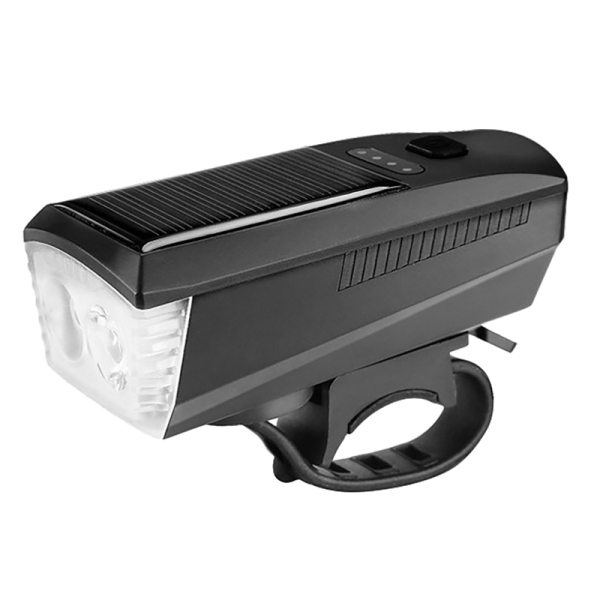 Phân phối LER Bicycle Light Solar USB Rechargeable Bike Headlight MTB Bike Front Light Horn Cycling Lamp Accessories Red