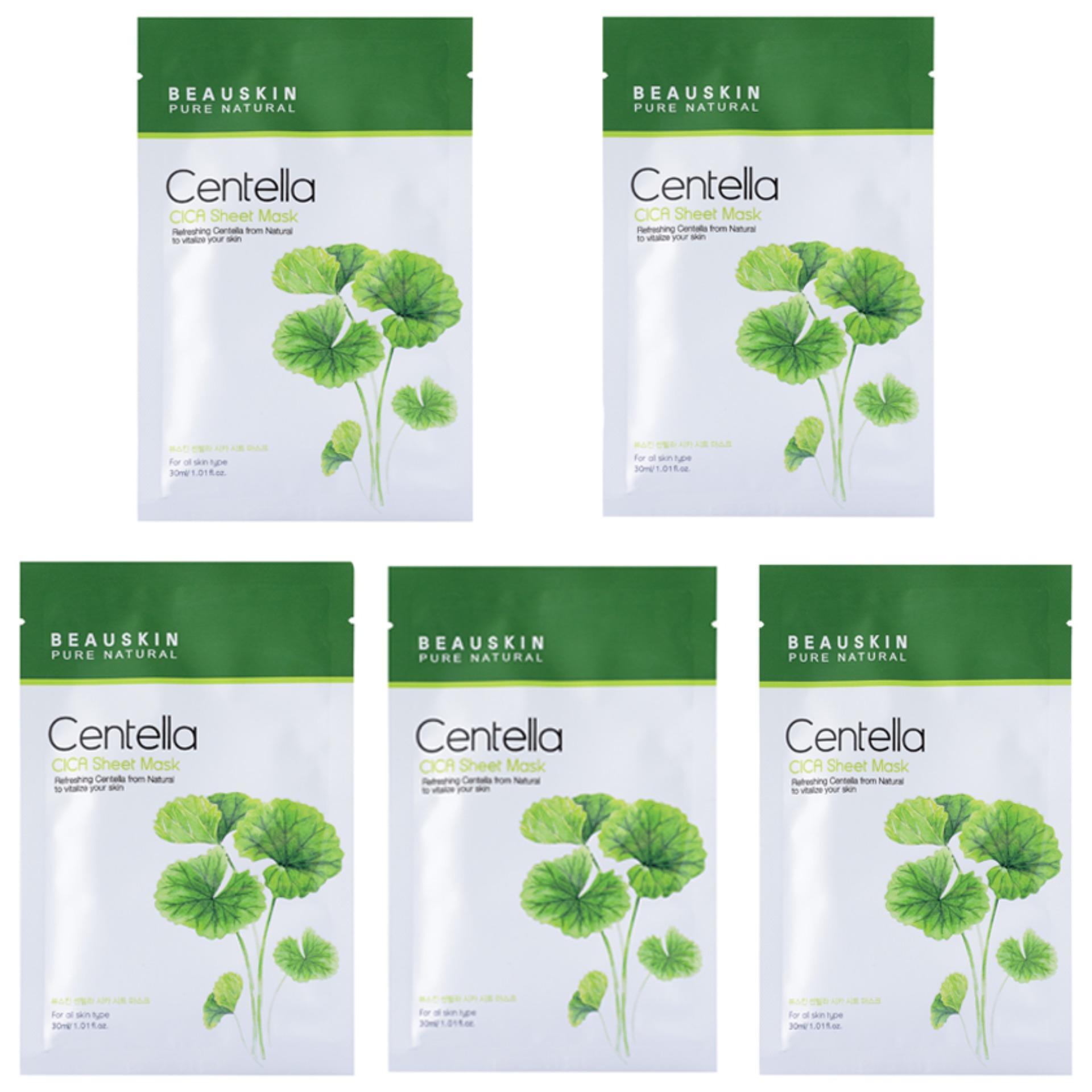 Com bo 5 mặt nạ Beauskin tinh chất rau má Cica Centella Sheet Mask Hàn Quốc