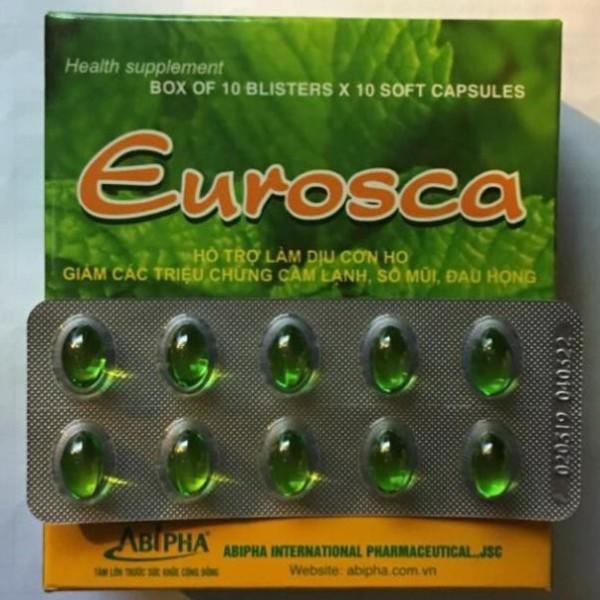 Eurosca Abipha - làm dịu cơn ho, sổ mũi, cảm lạnh, đau họng / Hộp 10 vỉ x 10 viên)