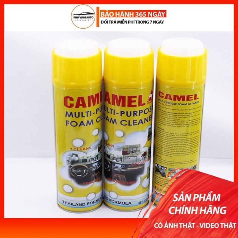 Chai vệ sinh nội thất ô tô đa năng Dạng Bọt Camel, Chai Xịt Bọt Đa Năng Vệ Sinh Ghế Da Nội Thất Ô Tô Foam Cleaner Màu Vàng