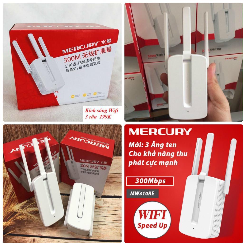 Giá Bộ Kích Sóng Wifi 3 Râu Mercury Cực Mạnh xuyên tường MW310RE - 300Mbps