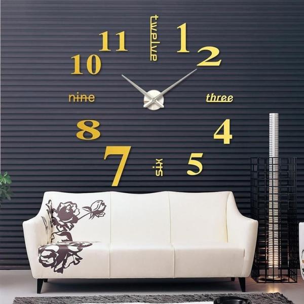 Đồng hồ dán tường châu âu DIY 3D trang trí cao cấp loại lớn size 90 đến 130cm. Thiết kế thông minh đẹp và sáng tạo