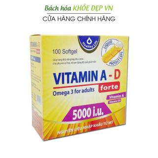 Viên uống bổ sung Vitamin A D, Omega 3 tăng cường sức khỏe, tốt cho mắt, da - Hộp 100 viên thumbnail