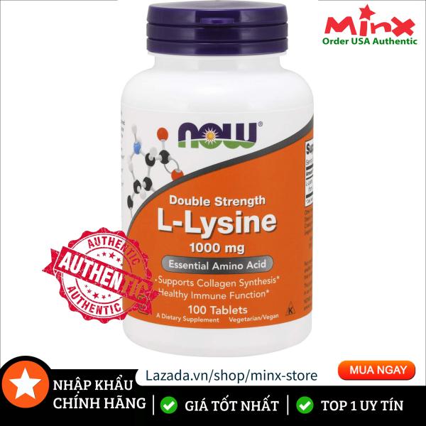 Viên Uống NOW L Lysine 1000mg (100 viên) - NOW Double Strength L-lysine - Bổ Sung Amino Axit Điều Hòa Nội Tiết Llysine GNC nhập khẩu