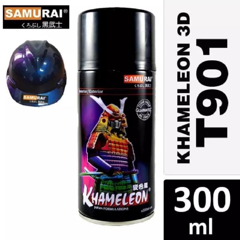 CHAI SƠN SAMURAI MÀU 3D TITAN XANH TÍM T901 300ML - SƠN TRÊN NỀN MÀU ĐEN MỜ