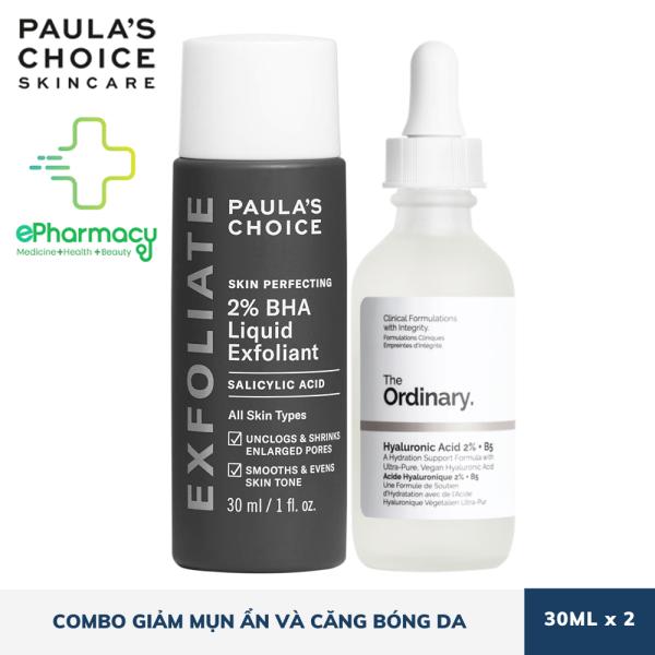 [HCM]COMBO Paulas Choice BHA 2% [30ml] + The Ordinary Hyaluronic Acid 2% + B5 [30ml] giúp giảm mụn ẩn & căng bóng da