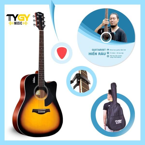 Đàn Guitar Acoustic Rosen Sunburst G11 (solid top)+Tặng kèm khóa học của Guitarist Hiển râu và đầy đủ phụ kiện