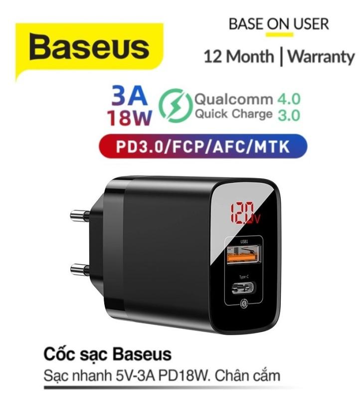 Giá Củ sạc nhanh PD3.0/QC 3.0 hỗ trợ sạc nhanh 18w Baseus Mirror Lake PPS Digital Display Quick Charger