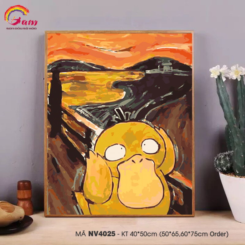 [Lấy mã giảm thêm 30%]Tranh tự tô màu theo số sơn dầu số hóa Gam Pikachu Koduck NV4025