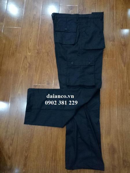 Quần vệ sĩ quần bảo vệ 6 túi, 2 túi hộp màu đen vải kaki 65/35 (có bigsize)
