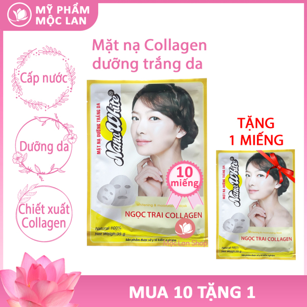 Mặt nạ dưỡng da Collagen, Nhân Sâm, Ngọc Trai, Trà Xanh, Sữa Tươi, Dừa Non 10 miếng - Mỹ phẩm Mộc Lan giá rẻ