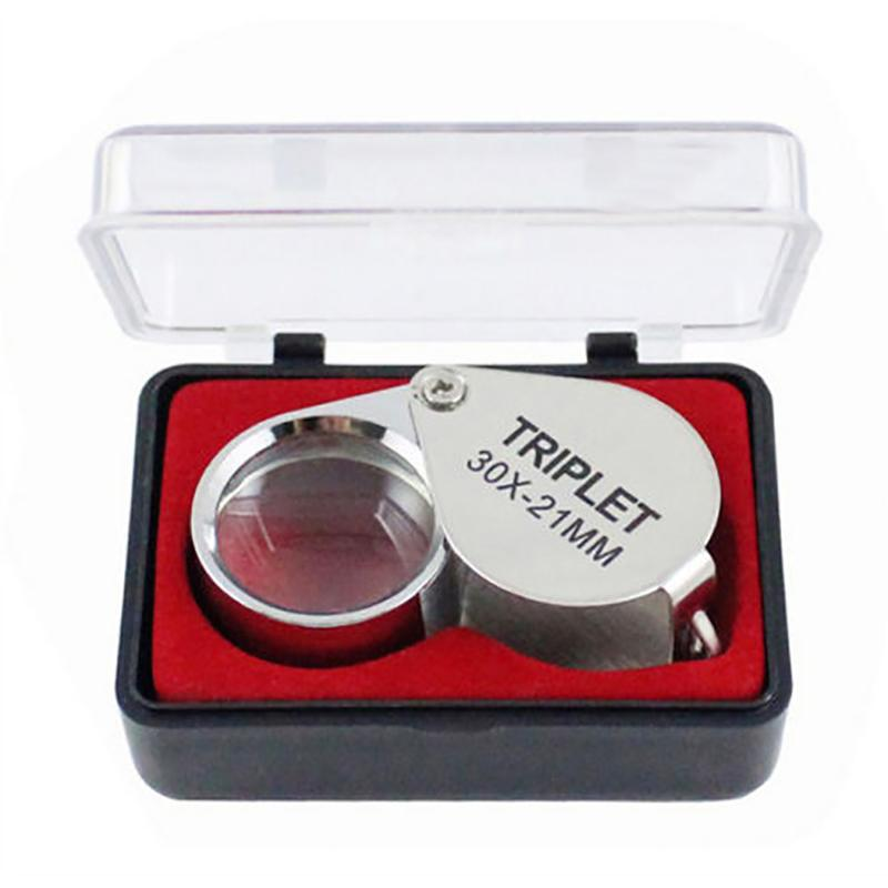 Portable 30x Power 21mm Jewelers Magnifier Gold Eye Loupe Jewelry Store Magnifying Glass With Exquisite Box