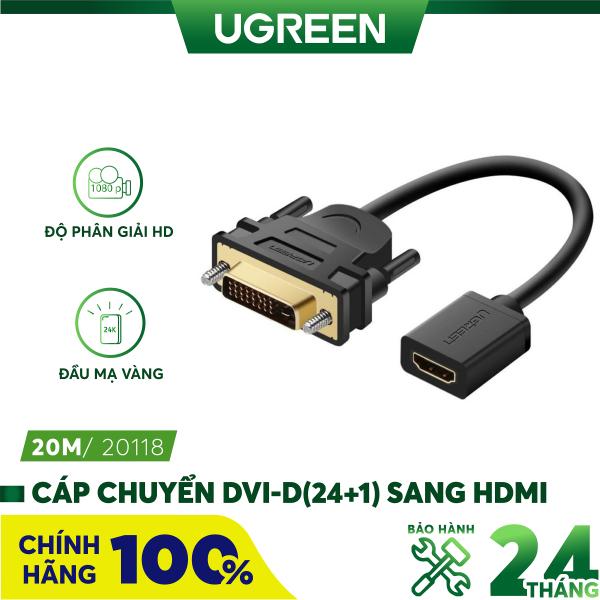 Bảng giá Cáp chuyển đổi đầu DVI-D (24+1) đực sang HDMI cái dài 20CM UGREEN 20118 (Đen) Phong Vũ