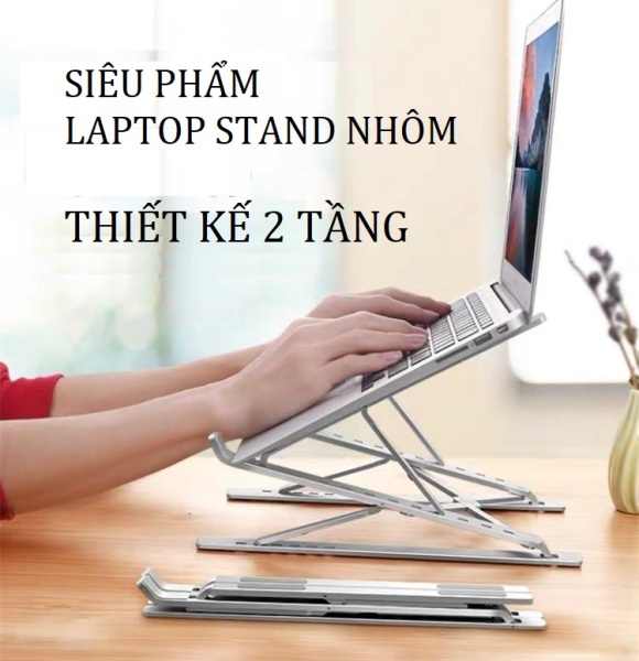 Bảng giá Giá đỡ laptop nhôm thiết kế thông minh 2 tầng điều chỉnh độ cao, nâng tản nhiệt laptop Phong Vũ