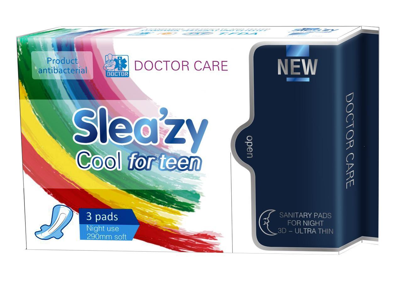 Doctor Care/Băng vệ sinh thảo dược SleaZy Cool For Teen Ban đêm nhập khẩu