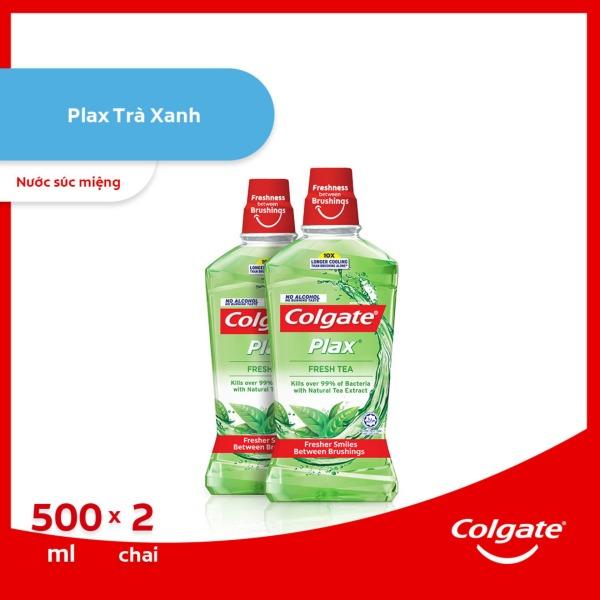 Bộ đôi Nước súc miệng Colgate diệt 99% vi khuẩn Plax trà xanh 500ml/chai giá rẻ