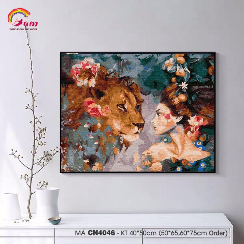 Tranh tự tô màu theo số sơn dầu số hóa Gam Cô gái và sư tử CN4046