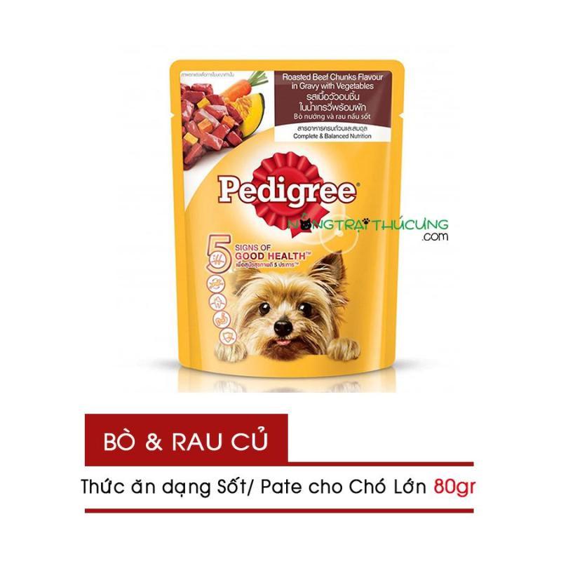 Gói Pate/ Sốt cho Chó Lớn Pedigree 80gr - Vị Bò Nướng và Rau Nấu Sốt - [Nông Trại Thú Cưng]