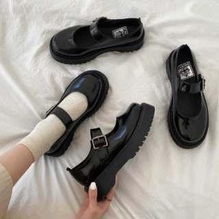Aurora. An Giày Bệt Nữ Giày Da Nhỏ Mary Jane Nhật Bản Jk Nữ Sinh Phiên Bản Hàn Quốc Phong Cách Anh Retro Hoang Dã