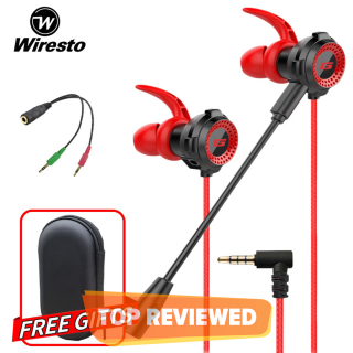 Wiresto Gaming Earphones In Ear Headphones Wired Earphones Earbuds Headset Noise Cancelling Stereo Computer Gamer Headphones with Mic for Mobile Phone PS4 New Xbox One Free Case thumbnail