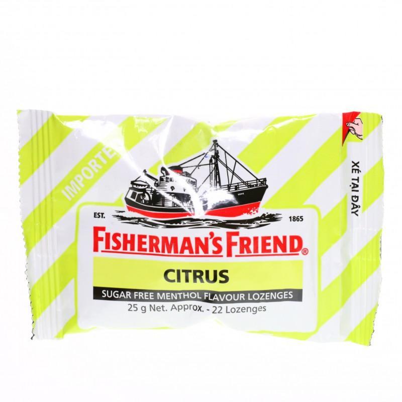Kẹo cay con tàu Fisherman's Friend không đường vị cam chanh & methol gói 25g
