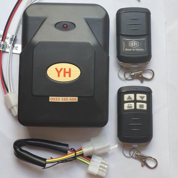 Bộ hộp điều khiển cửa cuốn tự động YH 8 mã gạt 433 chống nước ( 1hộp nhận + 2tay điều khiển + 1cáp kết nối + 1giắc tự ngắt/còi)