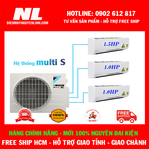 [HCM]Combo 3 dàn lạnh 1 cụm nóng Điều Hòa Daikin Inverter Multi S - 1HP + 1HP + 1.5HP