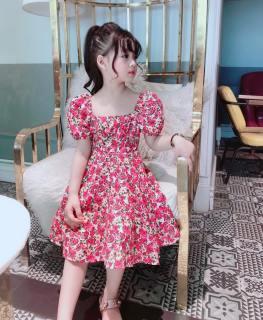 Váy đầm cho bé gái size đại kiểu tay phồng chân váy xòe chất thô lụa cho bé từ 12kg đến 30kg( Màu hồng, xanh, đỏ)