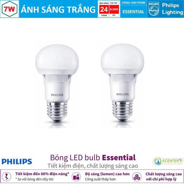 ( Bộ 2 ) Bóng LED Bulb Philips Essential 7W E27 ( Ánh sáng trắng & vàng )
