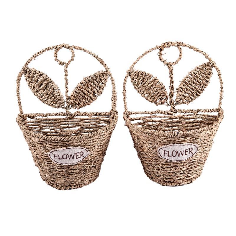 Handmade Flower Pot Willow Woven Wall Hanging Basket Flower Basket Storage for Garden Supplies Wall Decoration