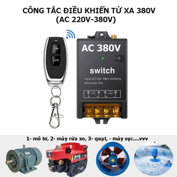 Công tắc điều khiển từ xa 100m 3 pha 380V 10A bật tắt máy bơm nước máy rửa xe 3 pha 380v
