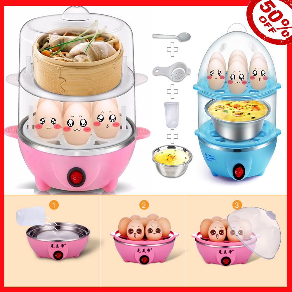 Nồi hấp 2 tầng bằng điện, Nồi Hấp Dụng Cụ Nấu Ăn Nhà Bếp Đồ Nấu Nướng,Nồi hấp đa Năng, thích hợp dùng để hấp trứng, hấp thức ăn.