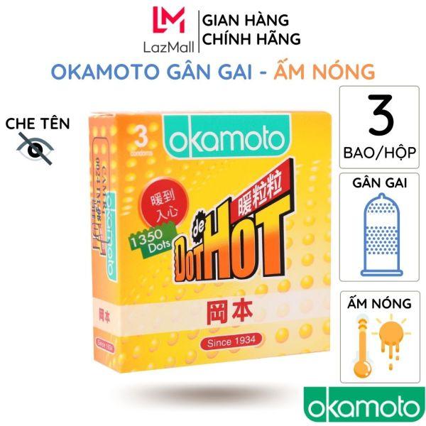 Bao Cao okamoto Dot de Hot Gân Gai Ấm Nóng 3 cái/hộp truyền nhiệt nhanh tăng cảm xúc kéo dài thời gian chống tuột cao cấp