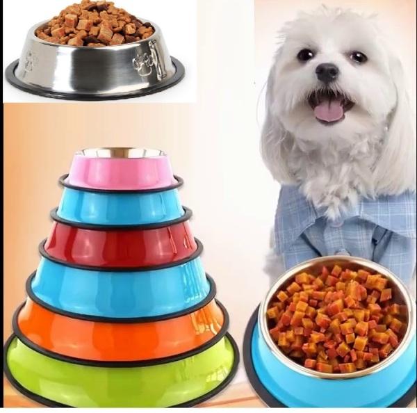 HCM- Bát / chén ăn inox Không gỉ sét - chống lật size 1 (2 loại) dành cho chó trên 18kg  (đường kính 15cm)-  353d-HP10791TC