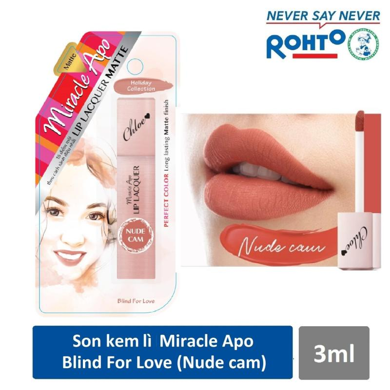 Son kem lì Miracle Apo Lip Lacquer Matte Holiday Collection Blind For Love 3ml (Nude cam) cao cấp