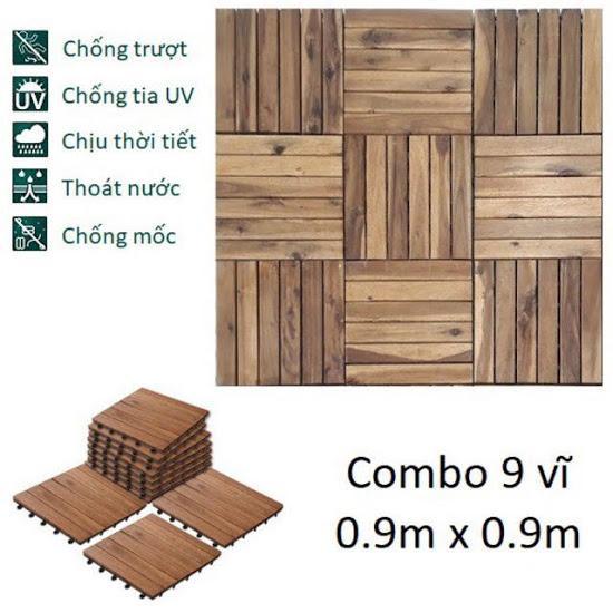 Combo 9 tấm loại 6 nan - Ván Sàn Gỗ Tự Nhiên Vỉ Nhựa EDEN CLICK-ON - Tự Lắp Ráp Ban Công Sân Vườn IKEA