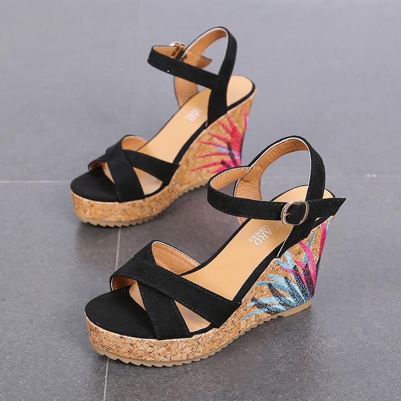 c09abce98f Wedge Sandal Women High Heels Shoe Summer 2019 New Style Straight-line  Buckle Ribbonfish Mouth