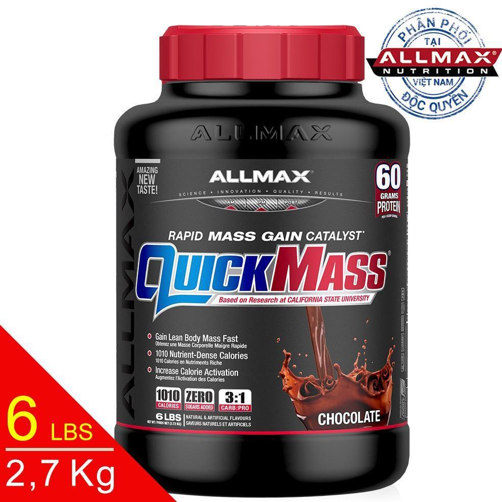 [THỰC PHẨM DINH DƯỠNG THỂ THAO] Whey Protein Tăng Cân Allmax Quickmass Chocolate 6 Lbs (2.7kg)