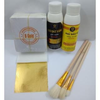 Combo 500 lá vàng kèm đủ keo và phụ kiện dùng cho dát vàng hoa quả, thạch cao, giấy, đồ da thumbnail
