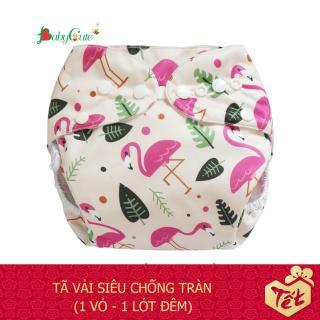Bộ tã vải BabyCute ban Đêm Siêu chống tràn size M (8-16 kg) (1 Vỏ + 1 Lót) mẫu bé Gái thumbnail