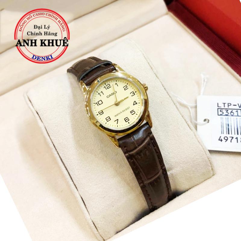 Đồng hồ nữ dây da Casio Standard  Anh Khuê LTP-V001GL-9BUDF