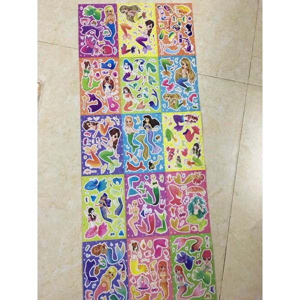 Túi 15 tờ hình dán hoạt hình, công chúa loại to