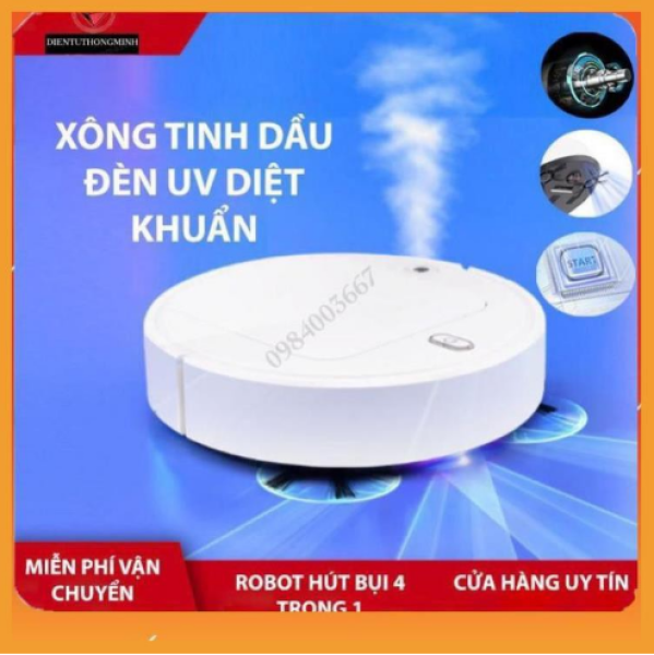 Máy hút bụi Robot hút bụi Sweep Clean 5 trong 1 Hút bụi quét nhà lau nhà xông tinh dầu đèn UV