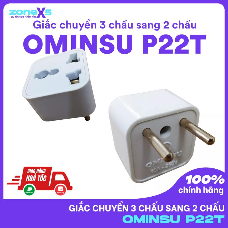 Bảng giá Phích Cắm Điện OMINSU P22T Chuyển Đổi 3 Chấu Thành 2 Chấu - Giắc chuyển 3 chấu